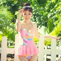 Meiqi swimwear female small push up steel one-piece dress swimwear 2014 hot spring swimsuit