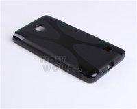 2 Piece a Lot Black BK TPU Gel Soft Case X-Line Wave For LG Optimus GK F220k Hong Kong Seller