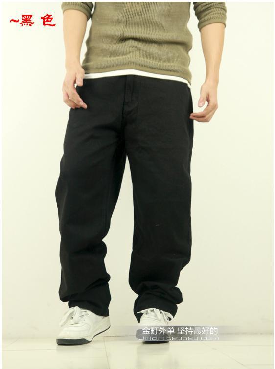 Hiphop rhino solid color denim skateboard pants trousers plus size plus size hip-hop pants 30 - 46(China (Mainland))
