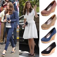 2013 star style women's kate shoes genuine leather sheepskin wedges high-heeled shoes platform