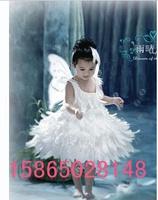 Child costume female feather flower girl princess dress little angel little swan white swan ballet dance  full set