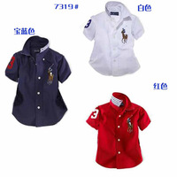 Kids apparel boys girls Blouses Shirts short sleeve turn-down collar polo shirts 100% cotton for 1-8Y free shipping wholesale