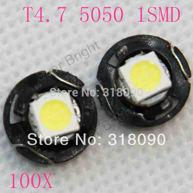 HOT !!100X T4.7 5050 Chip 1 SMD 12V  Dashboard Light Bulbs  Warning Indicator Light Interior Light  Wedge Light  For Car Door(China (Mainland))