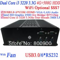 Tiny PC Compact Mini Desktop with Intel Dual Core Four Threads i3 3220 3.3Ghz Intel HD Graphic 2500 HDMI USB 3.0 4G RAM 500G HDD