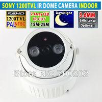 Free Shipping Video Security Array IR LED Night vision mini dome camera HD 1200 TVL 1/3 SONY CMOS + OSD MENU + IR-CUT