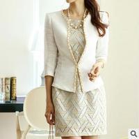 2014 New  brand  Fashion spring Women Slim white Blazer jacket Long Sleeve single Button casual veste suit plus size coat KR502