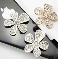 100pcs/lot,23mm Five flower  metal buttons Rhinestone Metal Alloy Wedding Craft Buttons, Wholesale Free Shipping