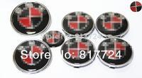 7x Black Red Carbon Emblem Set Hood Trunk Rear Badge & Wheel  Center Caps For 3 5 7 Z Series E30 E60