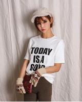 Free Shipping  spring new female Korean Vintage loose boyfriend style printed cotton T-shirt T-shirt