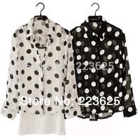 Women's Blouses 2014 New Women's Big Wave Hit the Color Dot Long-sleeved Chiffon Shirt  Women
