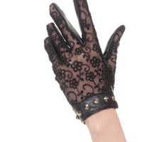 Cyrilus Women Lace Leather dri ving Gloves UV Protection Sun Block With Rivets