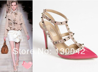 2014 Spring Summer New European Style Women's Rivet Ankle Leather high heel pumps BRAND Vale Popular women shoes EUR 35-40
