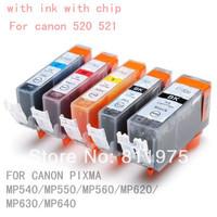 5pcs Free shipping PGI 520BK CLI 521 BK C M Y 5 color ink cartridge For canon PIXMA MP540/MP550/MP560/MP620/MP630/MP640 printer