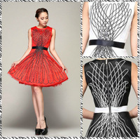 Free shipping 2014 Heavy gauze dress in Europe and America big swing dress DR020