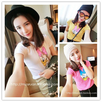 2014 summer honey sisters equipment individuality brief HARAJUKU donald duck print short-sleeve slim T-shirt