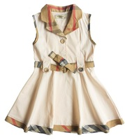 fashion new gril's sleevelss Dress knaki silver white and red bow sashes plaid knee-lenght deress , summer gril's casual deress