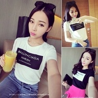 Sweet gentlewomen women's 2014 summer fashion new arrival slim letter brief basic women's T-shirt short-sleeve shirt