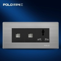 Free Shipping, POLO luxury wall socket panel,110~250V,3-hole 2-computer Multifunction socket, power electrical outlet