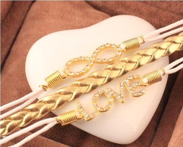 Free shipping pulsera tejida fashion alloy golden love jewelry 2014 summer hot sale vintage bracelet love for women one piece(China (Mainland))