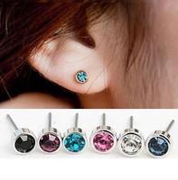 2014 New Fashion women Stud Earrings Korean style Mosaic Acrylic Earrings  gold Plated Wholesale 6 colour