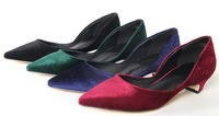 2014 Women's Spring Flock Surface Pointed-Toe Comfortable Low Heel Slip On OL Shoes Pump Shoes US Size 5-8.5 D306