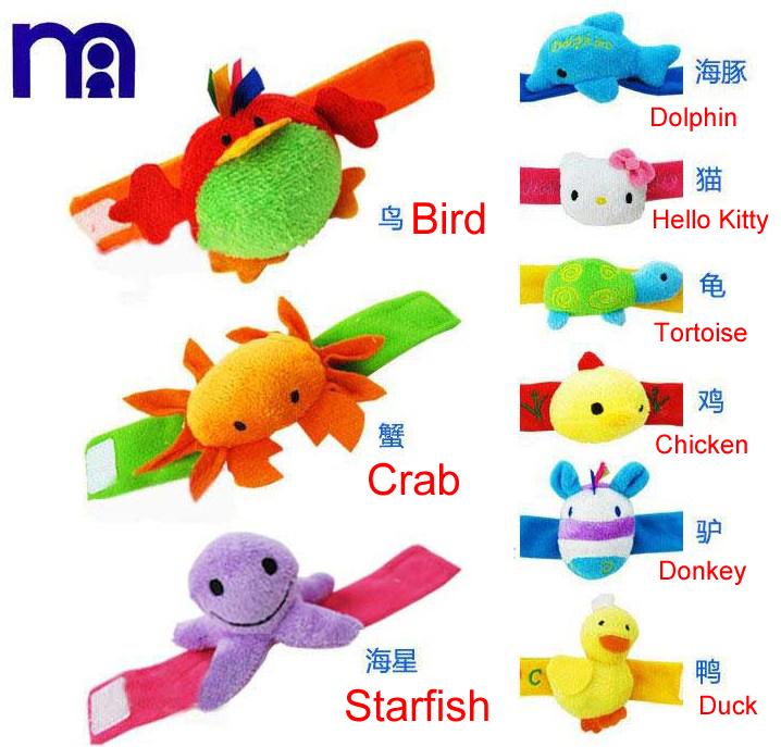 9 Styles !!! 2014 New Carter's Baby Rattle Toys Sounding Animal Toys Baby Wrist Plush Toys Free Shipping(China (Mainland))