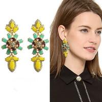 Free shipping high quality earring for women luxury earrings for women wholesale yellow crystal earrings fashion jewelry