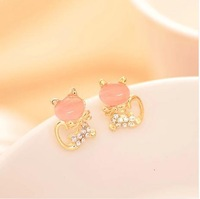 2014 New Fashion Stud Earrings Korean style cat earrings Mosaic Acrylic Earrings Animal Earrings gold Plated Wholesale