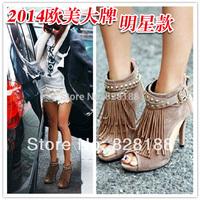 New 2014 Summer women pumps Fashion women boots sandals High heels Vintage Tassels Genuine leather Free shipping