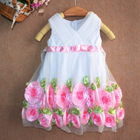 New 2014 flowers cotton summer baby girl dresses fashion child girl clothing party dress Birthday  Party Child Girl's Dress