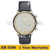 Original Watches AR0386 Top Brand Classic Quartz Round Men Leather Black Chronograph Dial Analog Watch +Original Box Wholesale