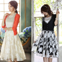 2014 Spring Summer New Korean Gentlewomanly A-line Organza Ball Gown Skirt With Bowknot Black/Apricot S-XL 8021# Free Shipping