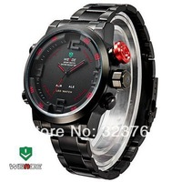 2014 Free Shipping WEIDE Double Japan Movts Sports LED Watch with Waterproof Design Alarm and Stainless Steel Watchband