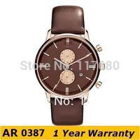 Original Watches AR0387 Top Brand Classic Quartz Round Men's Leather Chronograph Dial Analog Watch +Original Box Wholesale