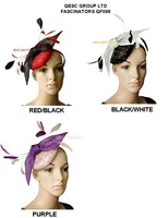 2014 new arrival.Polka dot print Sinamay  Feather Fascinator with feathers and sinamay bow.black,purple,red,white color.