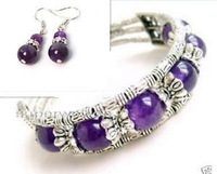 Hot Fashion lady's Jewelry set tibet Tibetan Silver Natural purple crystal green jade Bracelet Bangle earring set Free Shipping