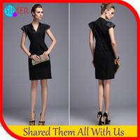 2014 New Fashion Women's Black Peplum Tops Sexy Bodycon Career Dresses Brand Sleeveless Novelty A-line Evening Party Dresses