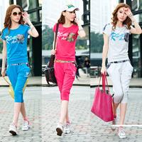 2014 casual sportswear set female summer sweatshirt capris short-sleeve sports set female summer fashion