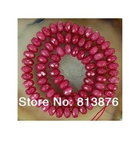 Natural 5x8mm Facted Brazilian Ruby Abacus Loose Bead 15''