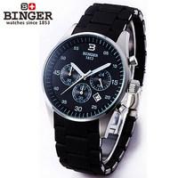 Best quality new men business watch unique stopwatch round 18k Platinum wristwatch 24 hours calendar luminous quartz watches