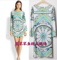 New 2014 Italian Luxury Brands Women's Long Sleeves Baroque Print Green Slash Collar Stretch Jersey Silk Plus Size XXXL Dress