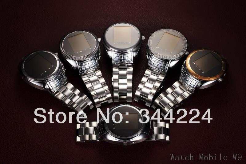 Quadband w9 fashion dustproof watch phone Stainless Steel Waterproof watch mobile phone free shipping(China (Mainland))