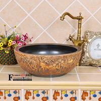 Antique handmade sculpture art basin - counter basin wash basin - - handbasin - pine