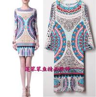 New 2014 Italian Luxury Brands Women's Three Quarter Sleeves Baroque Print Slash Collar Stretch Jersey Silk Plus Size XXL Dress