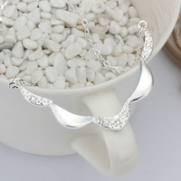 New Arrival 925 Sterling silver Jewelry pendant Necklace Fashion women Jewelry CZ Wave necklaces & pendants,Factory price N424