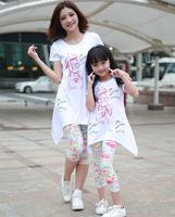 New 2014 Girls Clothing Set Summer Girl Dress Flower Cat Kid Children Hoodies Child Kids T Shirts + Plants