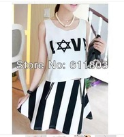 In the summer of 2014 bead letter T-shirt vest + vertical stripes A word skirt skirt Two-piece suit dress women's set