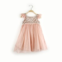 New Girl Dress 2014, Summer Sequin Puff Sleeve Dresses For Girl Princess, Kids Party Wear Wholesale 5pcs/lot, Free Shipping