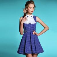 2014 Fashion Women Spring Summer Autumn Sweet Polka Dot Peter Pan Collar Beading Dress Elegant Princess Dress Blue, Pink, Yellow