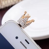 $15 free shipping hot sale kpop fashion luxury diamond crown anti dust plug designer rhinestone earphone cap for cell phone